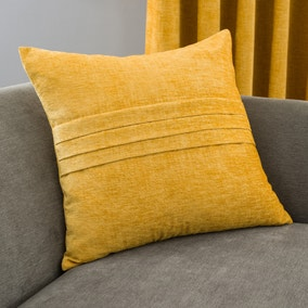 Chenille Mustard Pleat Cushion