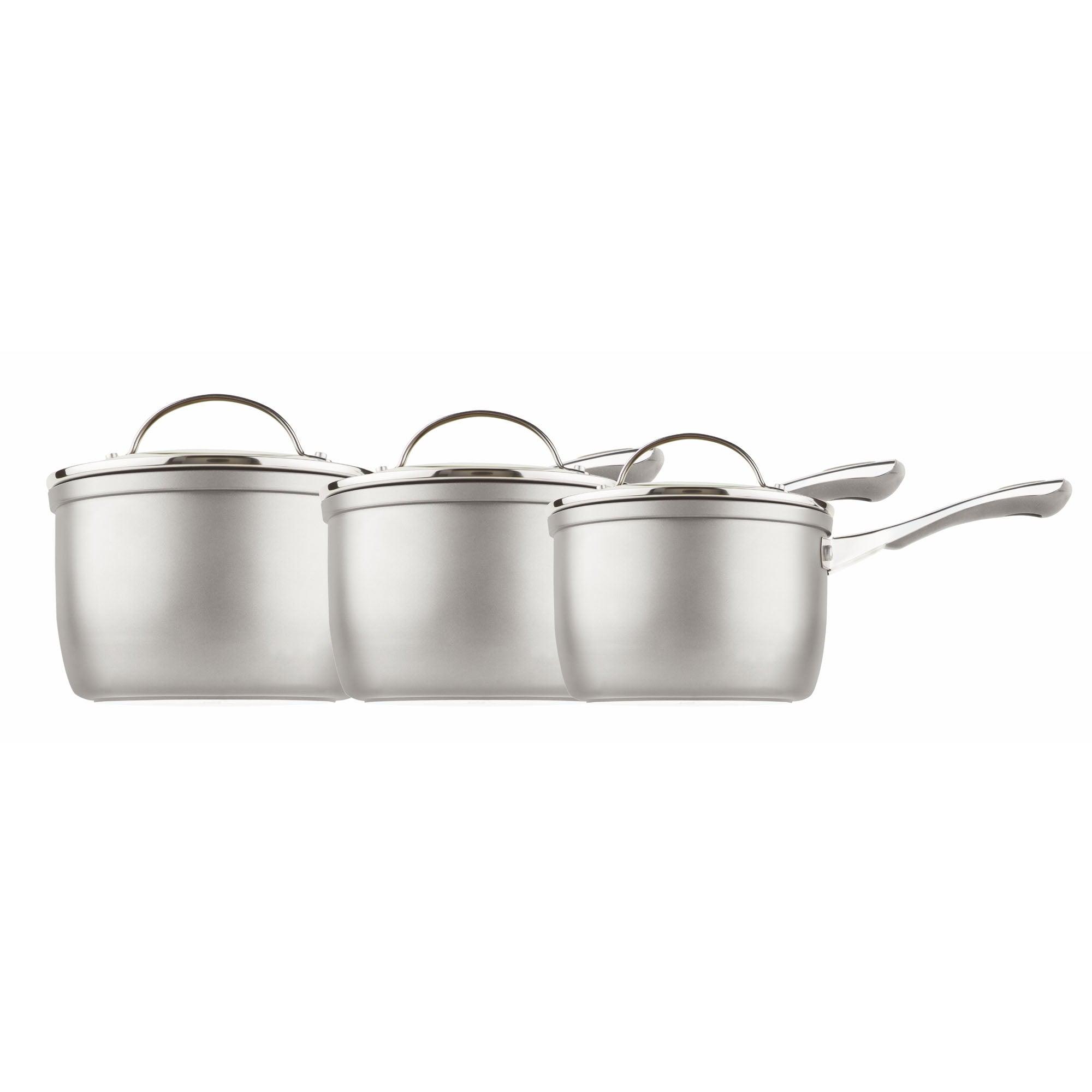 Prestige Prestige Prism Induction Aluminium Saucepan, Silver, 14 cm, 16 cm and 18 cm, Set of 3