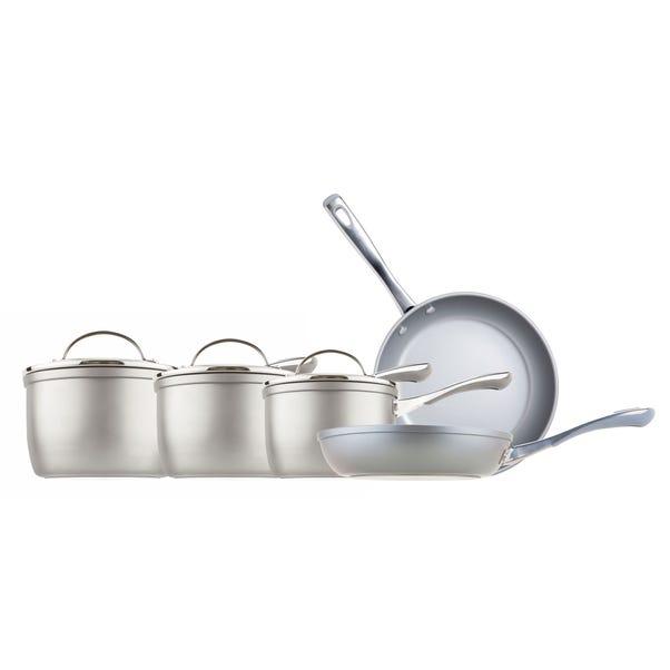 Prestige Prism Silver 5 Piece Saucepan Set Silver