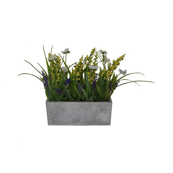 Artificial Lavender and Pansies Multi in Wooden Box 20cm Multi Coloured