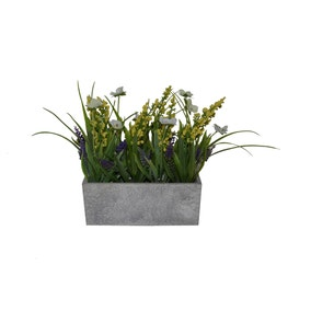 Artificial Lavender and Pansies Multi in Wooden Box 20cm
