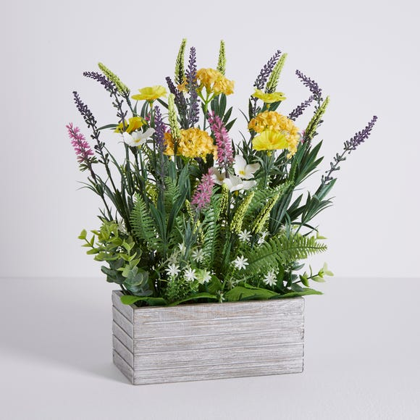Artificial Wild Flower Multi in Wooden Pot 38cm Multi Coloured