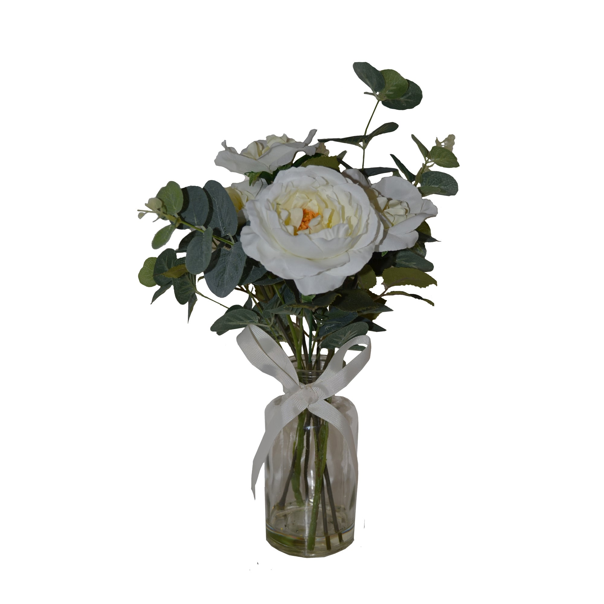 Click to view product details and reviews for Artificial Roses White In Glass Vase 44cm Green And White.