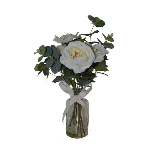 Artificial Roses White in Glass Vase 44cm White
