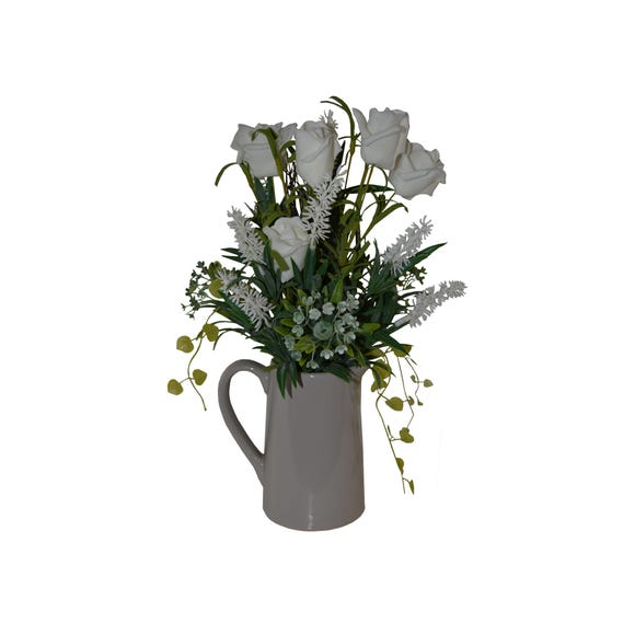 Artificial Roses White in Ceramic Jug 14cm Cream