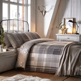 Colville Grey Check 100% Brushed Cotton Reversible Duvet Cover and Pillowcase Set