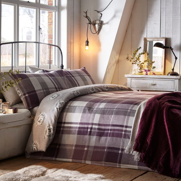 Colville Check Plum 100% Brushed Cotton Reversible Duvet Cover and Pillowcase Set Purple undefined