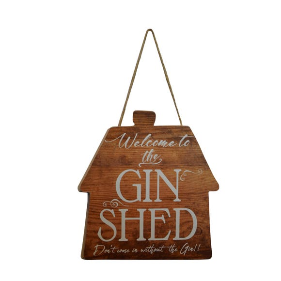 Gin Shed Plaque Brown