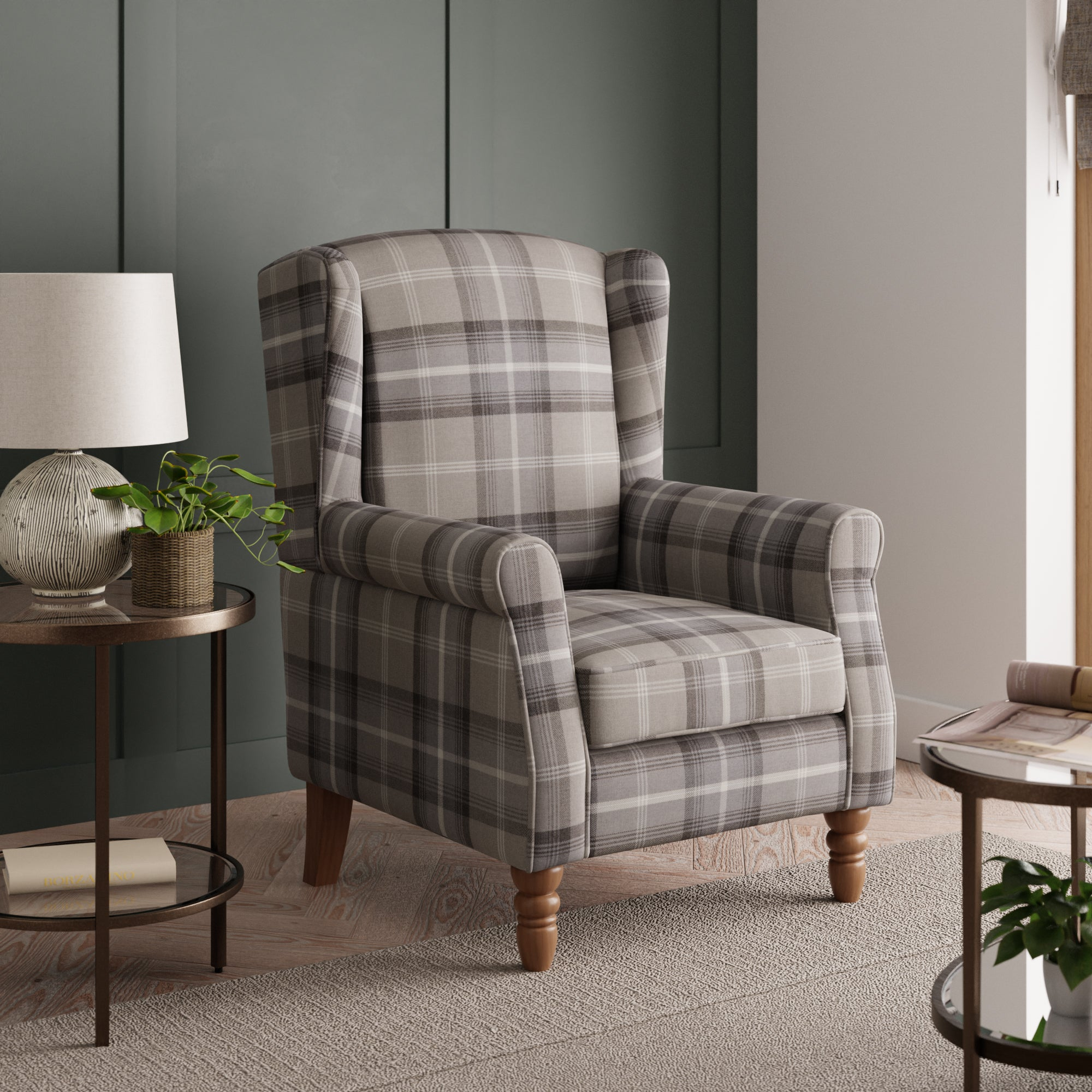 Oswald Check Wingback Armchair - Grey Grey and White