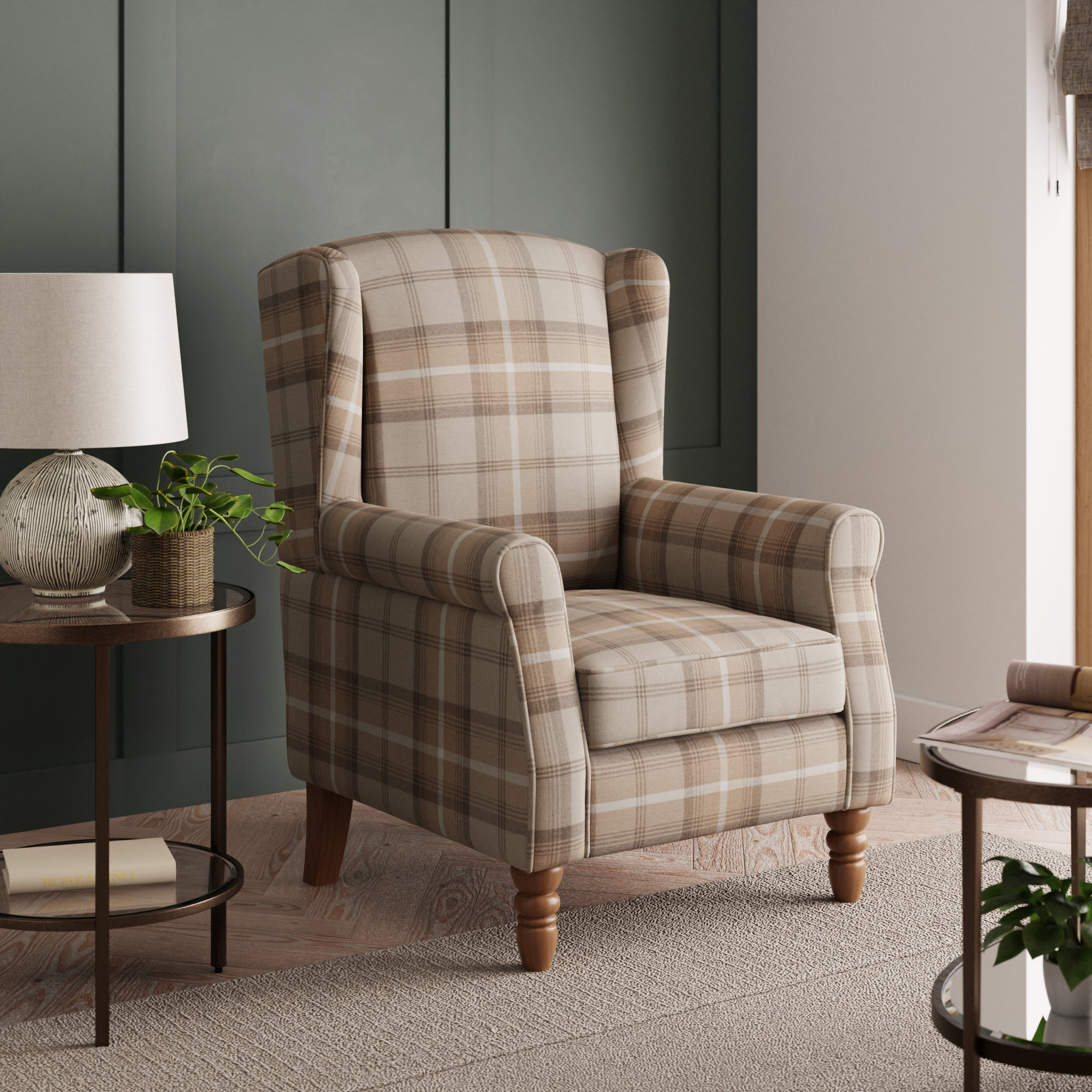 Oswald Check Wingback Armchair - Natural Brown, Blue and White