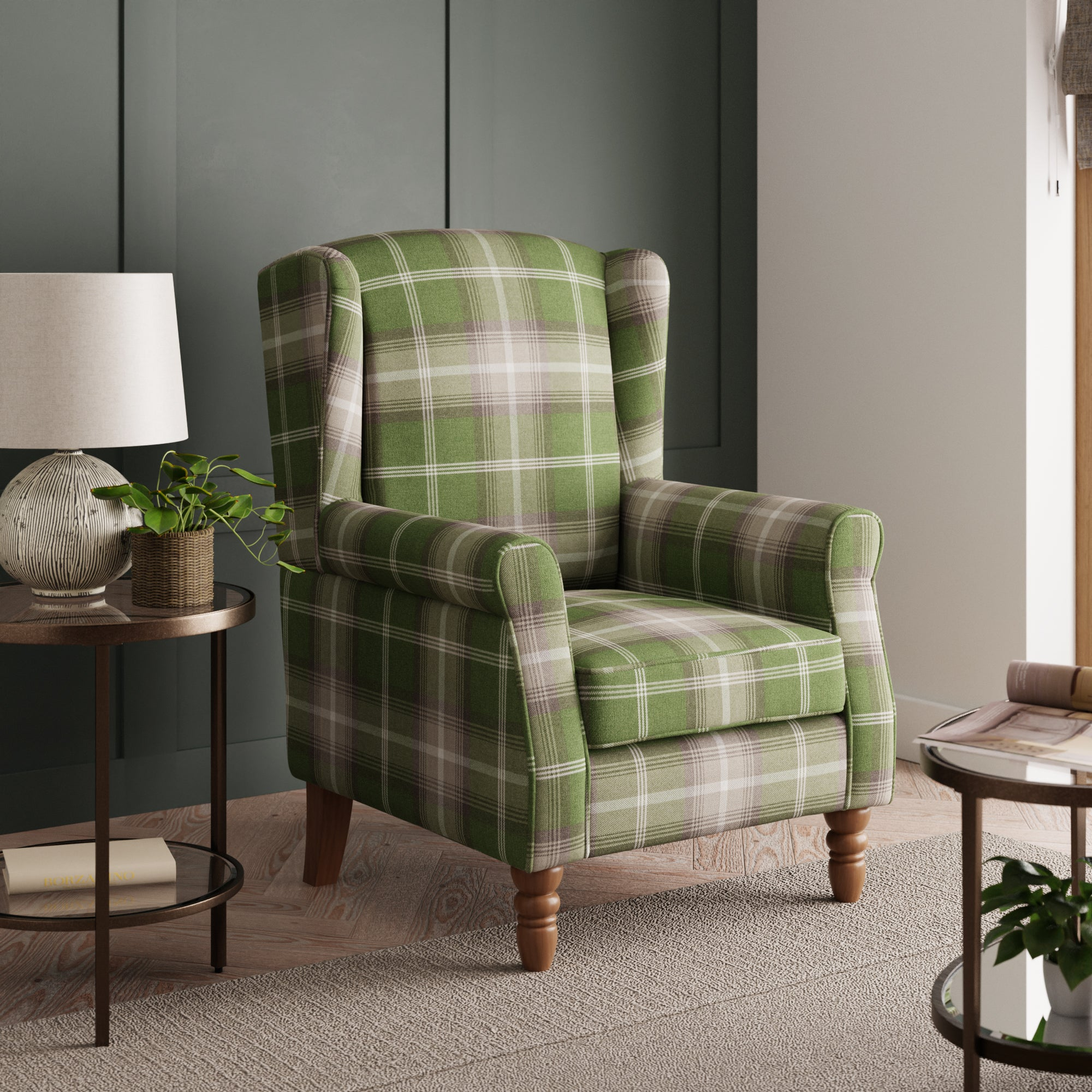 Oswald Check Wingback Armchair - Green Green, White and Purple