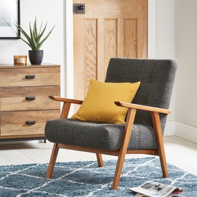 Arkin Wooden Frame Accent Chair - Grey