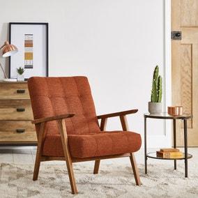 Arkin Wooden Frame Accent Chair - Orange