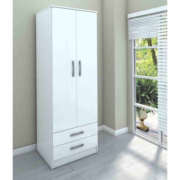 Lynx White 2 Door Combi Wardrobe White