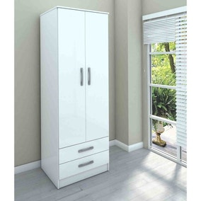 Lynx White 2 Door Combi Wardrobe