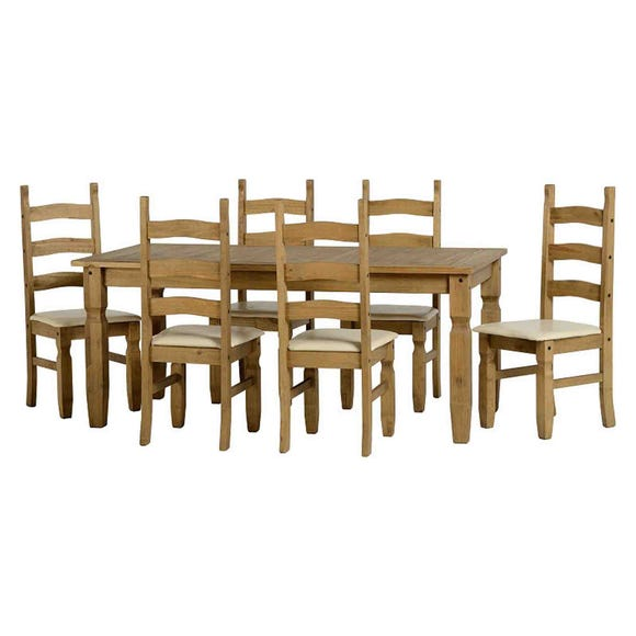 Corona Pine Cream 6 Seater Dining Set Cream