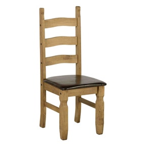 Seconique Corona Pine Pair of Brown Dining Chairs