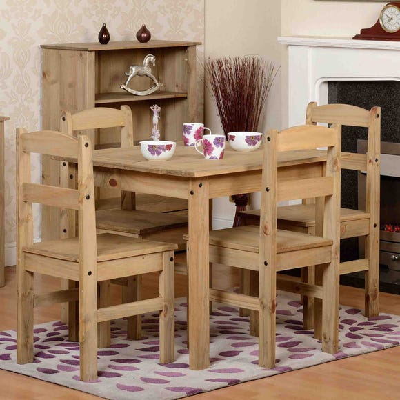 Panama 4 Seater Dining Set Pine (Brown)