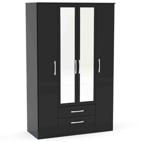 Lynx Black Gloss 4 Door 2 Drawer Mirrored Wardrobe