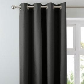Arizona Deep Charcoal Blackout Eyelet Curtains