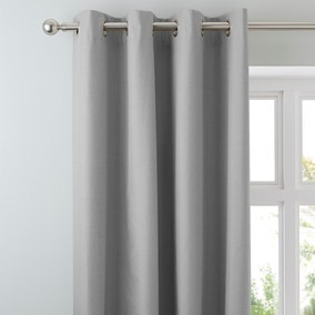 Arizona Soft Grey Blackout Eyelet Curtains