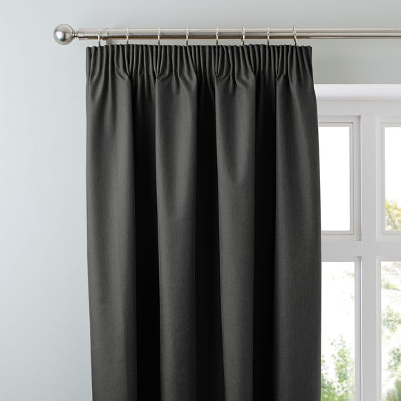 Arizona Deep Charcoal Blackout Pencil Pleat Curtains Charcoal (Grey) undefined
