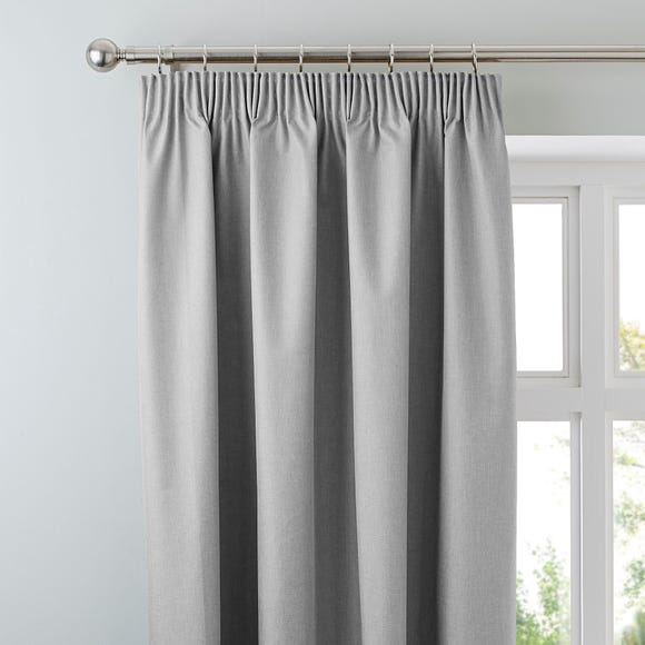 Arizona Soft Grey Blackout Pencil Pleat Curtains Grey undefined