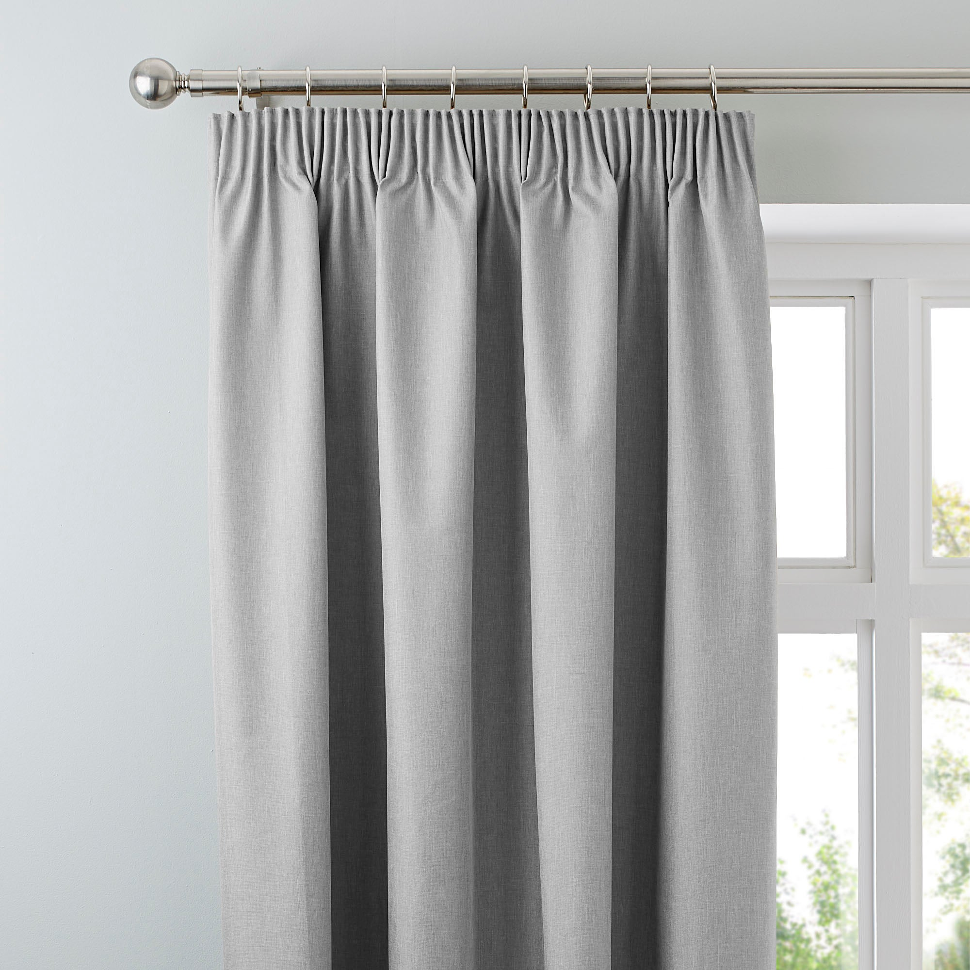 Photo of Arizona soft grey blackout pencil pleat curtains grey