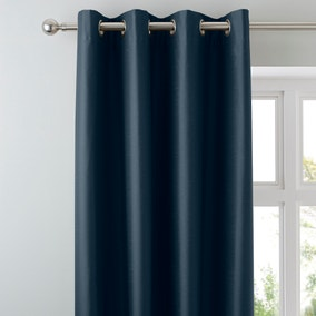 Nova Dark Blue Blackout Eyelet Curtains