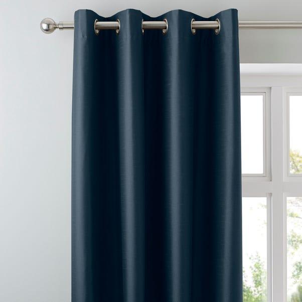 Nova Dark Blue Blackout Eyelet Curtains