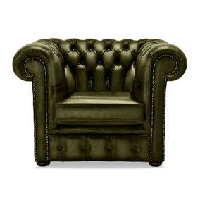 Belvedere Chesterfield Olive Antique Leather Club Chair