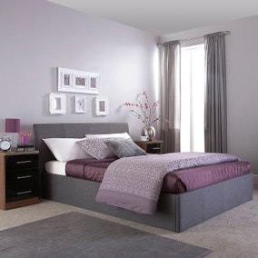 Ascot Grey Upholstered Ottoman Bed