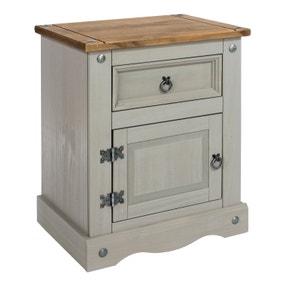 Corona Grey 1 Door 1 Drawer Bedside Cabinet