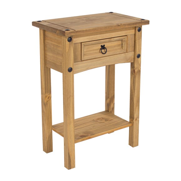 Corona 1 Drawer Hall Table With Shelf Natural