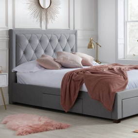 Woodbury Grey Fabric Bed Frame