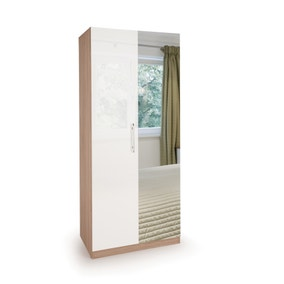 Kew High Gloss Mirrored Double Wardrobe