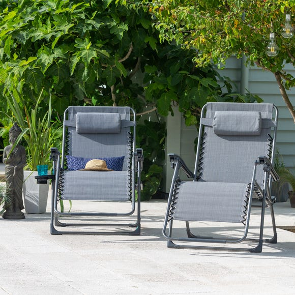 Montreal Set of 2 Deluxe Gravity Loungers Grey