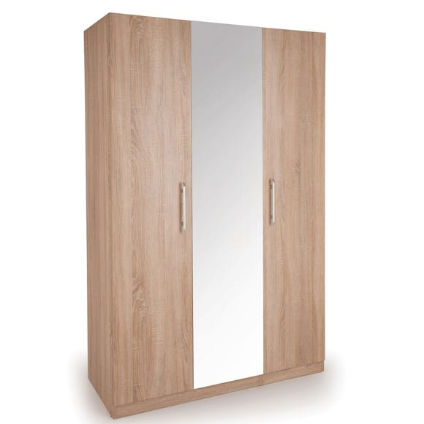 Holborn 3 Door Mirror Wardrobe Natural