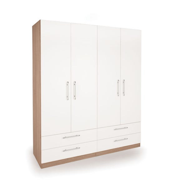 Hyde 4 Door 4 Drawer Wardrobe White