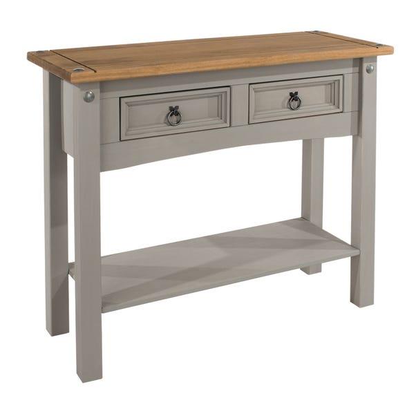 Corona Grey 2 Drawer Hall Table with Shelf Grey
