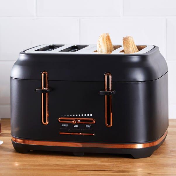 Dunelm 4 Slice Matt Black & Copper Toaster Black