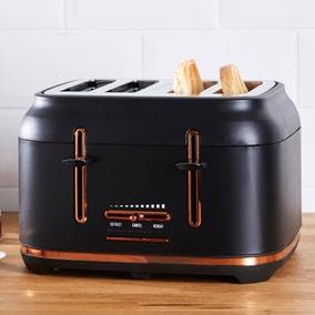 Dunelm 4 Slice Matt Black & Copper Toaster