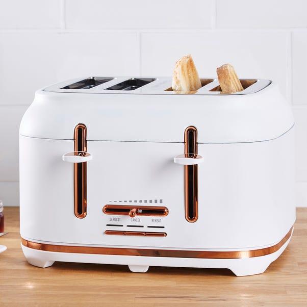 Dunelm 4 Slice Matt White & Copper Toaster White