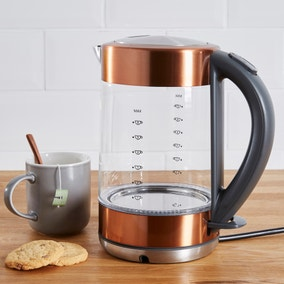 Dunelm 1.7L Copper Glass Kettle