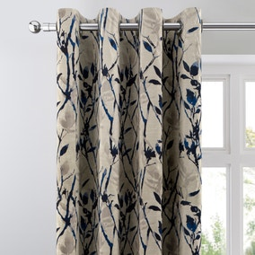 Zen Blue Jacquard Eyelet Curtains