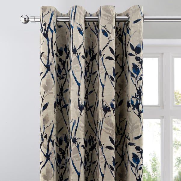 Zen Blue Jacquard Eyelet Curtains Blue undefined