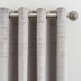Ruben Silver Velour Eyelet Curtains
