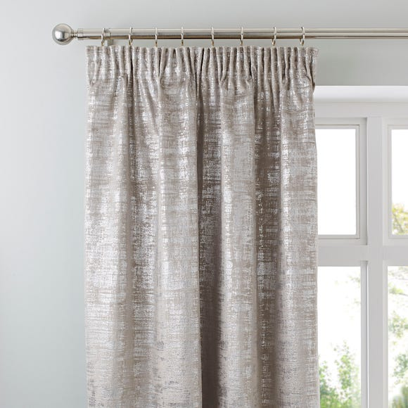 Romano Silver Velour Pencil Pleat Curtains  undefined