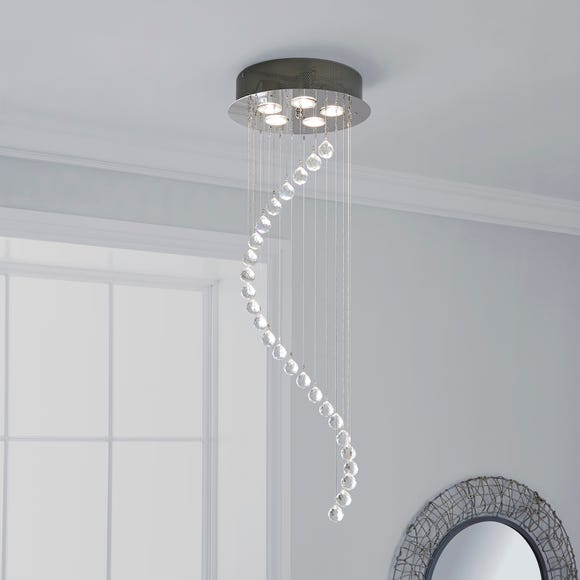 Marconia 5 Light Glass Droplet Cluster Flush Ceiling Fitting Silver