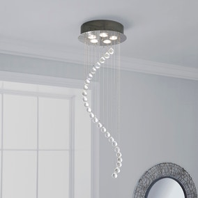 Marconia 5 Light Glass Droplet Cluster Flush Ceiling Fitting